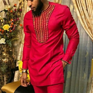 African Clothes Man Dashiki Traditional Tee Shirt Long Sleeve Tops Fashion Autumn Fall 2019 Male Red Men Shirt Africa Clothing 0924