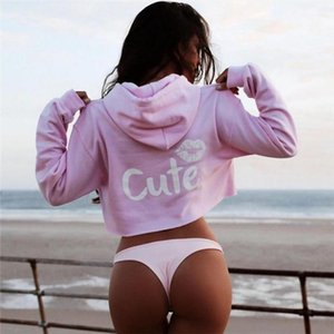 Autumn Lips And Letter Printed Cropped Hoodie Sudadera Mujer Long Sleeve European Style Sexy Drawstring Sweatshirt Ey*