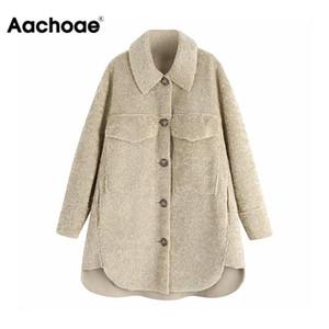 Aachoae Donne lungo Faux Fur Coat Casual Pocket caldo Teddy soprabito abbassare collo Pulsanti signore solidi Outwear Fleece Giacche