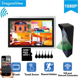 Dragonsview IP Vídeo porta telefone sem fio Wifi Vídeo Intercom 10 polegadas 1080p inteligente Doorbell Camera Unlock Registro