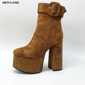 NEMAONE Faux Leather Cowboy Ankle Boots Women super High Heels platform Boots party club dancing shoes woman large size 34-43 CX200820
