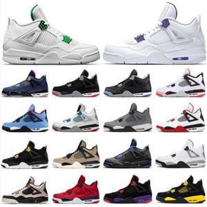 High Men Jumpman 4 4S Баскетбольные туфли Черный Cat 2020 Спортивные кроссовки Белый XSail Black Rush Violet Metallic Purple Se Neon Trainers