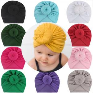 Bebê Headband algodão turbante recém-nascido bowknot Envoltório principal Macio Gorros Crianças sólido elástico Chapéus Headwrap 11 cor frete grátis DHE1431
