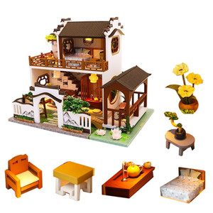 diy doll house villa Chinese retro wooden doll houses garden bedroom miniature dollhouse kit furniture poppenhuis keuken Y200317