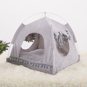 Soft Nest Kennel Cama Cave House Saco De Dormir Pad Barrade Animais de Estimação Inverno Quente Quartos Camas S-XL 2 Cores Cama Pet para Cães Cães