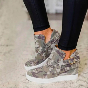New style fashion camoflouge women boot green camo Wedges Platform heel button lady ankle boot shoes