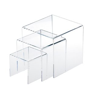 3,4,5 Inch Square Acrylic 1 8'' Clear 3 Pieces Riser Display Stands Showcase Set to Set up Jewerly or Makeup Products MX200810