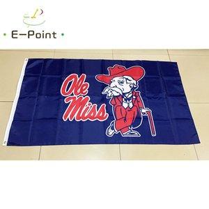 Bayrak 3 ft * 5 ft (150cm * 90cm) Bayrak Banner dekorasyon uçan ev bahçe açık hediyeler poliester NCAA Ole Miss İsyancılar