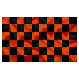 Schwarz und Tangerine Orange überprüfen Flagge, All Country 3x5ft Flaggen Druck, Hang Werbung National Outdoor Indoor Verbrauch, Tropfen Verschiffen