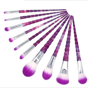 Lila Einhorn-Verfassungs-Bürsten-10PCS Sternenhimmel Spiralform Verfassungs-Bürsten-Tech Professional Beauty Kosmetik-Pinsel-Set