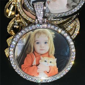 Пользовательские фото памяти Медальон Изображение ожерелье с теннисной цепью Hip Hop Ювелирный персонализированный Цирконий Цепь Charm подарок