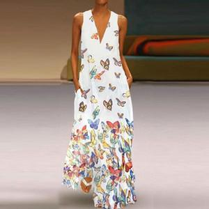 2020 nueva primavera de la mariposa del verano de las mujeres impreso falda larga con cuello en V bohemio Butterfly Beach Beach falda sin mangas extra grande