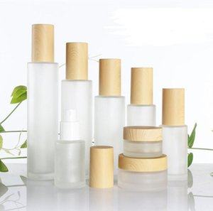 Frosted Glass Bottle Cream Jar with Wood Lid Lotion Spray Pump Bottle Refillable Cosmetic Container30ml 40ml 50ml 60ml 80mlSN036
