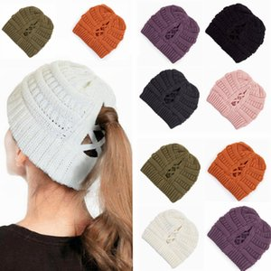 Knitted Ponytail Hat Women Winter Beanie Skullies Cross Cap Warm Wool Caps Girl Knitting Bonnet Beanie Party Hats SEA SHIPPING LJJP572