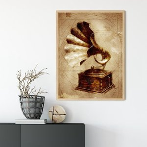 Gramophone Vintage Prints Antike Gramophone Industrie Wand-Kunst-Leinwand-Malerei Steampunk Plakat Musiker-Geschenk-Wand-Dekor