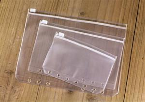 A5 / A6 / A7 Sac étanche transparent transparent document tirette Sac côté 6 trous en vrac feuilles Sac de stockage Sacs Réception Livraison gratuite A02