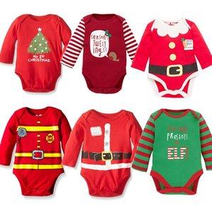Enfants de Noël Vêtements pour enfants à manches longues Halloween Jumpsuits Barboteuses rayé Elk Baby Girls One Piece Kids Party Vêtements E92704