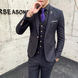 Mens New Dress Suits Blazer With Pants Vest Mens Fashion Casual Silm lattice Business Office Wedding Formal 3 Piece Suits