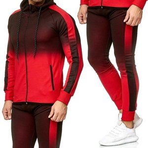 Autumn Winter Mens Tracksuit Set 2 Pcs Set Men Gradient Sweatsuits Sports Suit Gym Clothes Running Men Clothing Male Sets