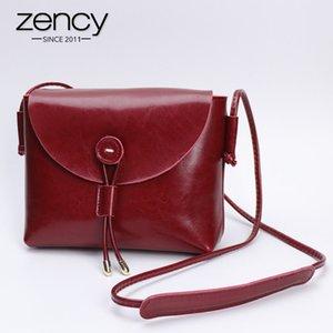 Небольшой 100% стиль простой мессенджер Crossbody женщин подлинной заслонки кошельки сумки мода леди сумка ZENCY ZENCY коричневая кожа черная RCGGH