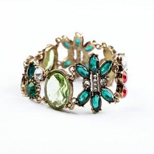 Multicolor floreali Creato monili di cristallo di moda femminile braccialetto Chunky Accessori Braccialetto partito Vintage