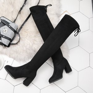 Tamaño 35-40 de invierno sobre la rodilla botas de damas damas se extienden hasta el muslo de tela zapatos atractivos a largo manera cargadores ocasionales HKGs