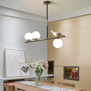 Modern İskandinav Basit Siyah / Altın LED Mutfak kolye ev dekorasyonu Cam Topu Asma oda aydınlatma armatürleri Yemek lambaları yanar