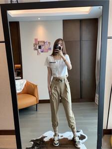 2020 mulheres calças hip hop calças casuais luxo Suit versão tecido slim fit tirar hem Multi-pocket projeto triângulo decoração calças de outono