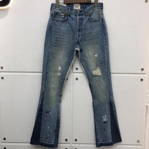 Приталенный Галерея Dept Stretch Джинсовые брюки Damage Hole Проблемные Жан Cowboy Жан Брюки Мужчины мешковатые джинсы мужчины одежда