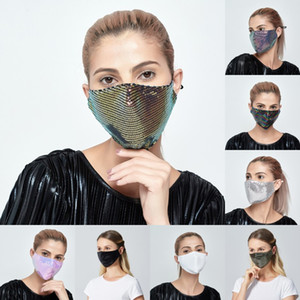 DHL Shipping Sequins Mount Masks Fashion Bling 3D Washable Reusable Mask Dustproof Anti-dust Face Shield Party Mask Shiny Face Cover B182F