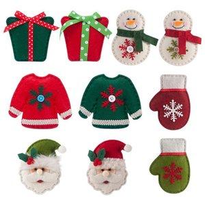 Albero di Natale appeso Busta regalo Babbo Natale del pendente del pupazzo di neve Guanti appendere le decorazioni Albero di Natale non tessuto spazzolato panno Socks Set DHB1005