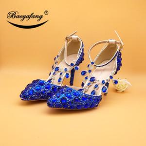 Eşleştirme çanta grubu Royal Blue kristal Gelin Payty Elbise ayakkabı ve Kalp Çanta kadınlarla BaoYaFang Yeni Düğün ayakkabıları