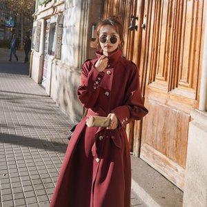 Женская осень плащи однобортный Длинные пальто с поясом Сыпучие-Fit Mid-Length Стиль тренчкот Популярные