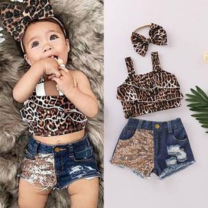 Verão 0-5T meninas leopardo do bebê ternos meninas outfits Vest Tanque + shorts de paetês denim + cabeça 3pcs / set roupas meninas B2023