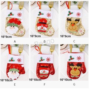 Ornamenti di Natale Guanti Knife Fork Bag Sock Knife Fork Copertina Christmas decorazioni dei cartoni animati Santa Snowman spazzolato panno paillettes BH4136 WXM