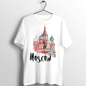 Maglietta degli uomini Russia Mosca Kremlin Palace Acquerello Arte Printed Tee
