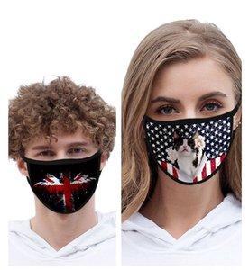 Lavável Máscara de 2020 Bandeira americana Dia da Independência Dustproof Impressão Moda Silk Ice Mask Tecido de protecção HWA919