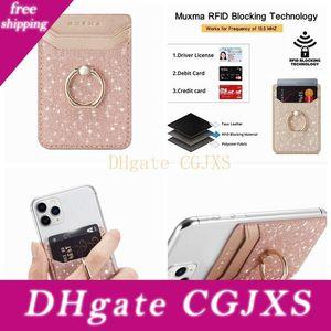 Kapak Telefon Bling Glitter Evrensel Çubuk Nakit Kimliği Kredi Tutucu Of Iphone Most İçin Metal Parmak Halkası Parantez Kart Yuvası 3m Sticker Deri
