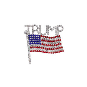 Trump Broş Pin Elmas Amerikan Bayrağı Broş Yapay elmas Harf Trump Rozetler Kristal Rozet Coat Elbise iğneler Giyim Takı YYA386