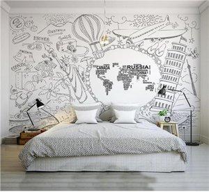 tamanho personalizado foto 3d quarto de cama papel de parede mural Tourist World Map preto e branco sofá imagem cenário TV wallpaper adesivo não-tecido mural