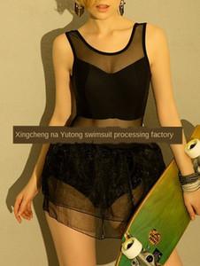 Nuovo colore solido Pengpeng pannello esterno di un pezzo cute sexy Pengpeng maglia gonna costume da bagno dimensione ragazza trasparente con grande UYXdE costume da bagno