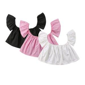 Infante recém-nascido do bebê Meninas Alças Sólido Preto Rosa Branca Top Curto T-shirt Blusa Clothes bonito Verão
