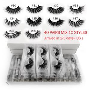 20/30/40 coppie ciglia di visone mano all'ingrosso fatti lases visone 3D mescolano 10 frustate stili rinfusa ciglia finte trucco naturale cilios CX200810
