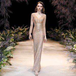 Partido orientales de oro V-cuello de la sirena chino atractivo de las lentejuelas Mujer de Cheongsam Qipao demostración de la etapa elegantes vestidos de banquetes Celebrity