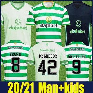 2020 club de football écossais Jersey hommes Kit enfants chemise rayée blanc vert MCGREGOR FORREST maillot de football EDOUARD maillot de foot Elyounoussi