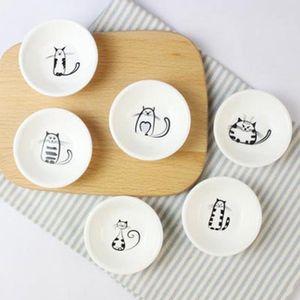 6Pcs / set nette Katze Keramik Soy Sauce Dish Essig Jam Geschirr Küche Kleine Teller Snack Kleine Teller Geschirr Neuheit-Geschenk