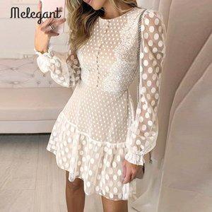 Melegant Seksi Kış Mesh Dantel Elbiseler Kadınlar Partisi Nakış Kadın Vintage Polka Dot Kısa Giydirme Plus Size Elbise vestidos