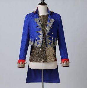 Blue blazer men suits Palace prince golden long embroidery jacket mens stage singers clothes dance star style dress punk rock bai83