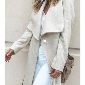 Vr3gX solto AW16 de mangas compridas en longo casaco longo solto AW16 de mangas compridas de lã lã lã casaco de mulheres das mulheres