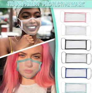 50pcs DHL Limpar completa transparentes máscaras de proteção respirável surdo-mudo Máscara Lip línguas para adultos Homens Mulheres cor sólida afiação BLM